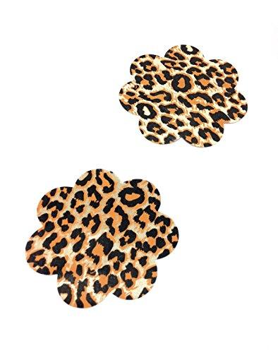 Dames bloemen tepelsticker luipaardpatroon beker beha pad borst intieme sieraden grootte Ø 80mm