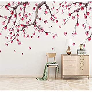Custom 3D Wallpaper New Chinese Cherry Blossom Hand-Painted Flower TV Background Wall Quality Material waterproof-208X146CM