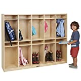 ECR4Kids Birch 10-Section School Coat Locker with Tray Storage and Hanging Hooks, Kids Har...