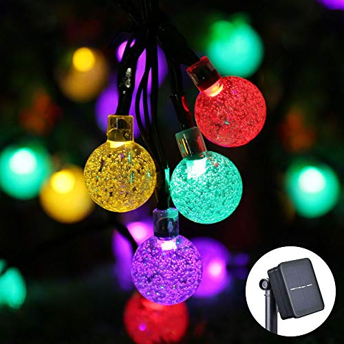 Solar String Lights Garden,Biaoyu String Lights 30 LED 6.5M Outdoor Solar-Powered Crystal Ball with IP65 Waterproof for Garden, Lawn, Fence, Patio Decoration (Multi-Color)
