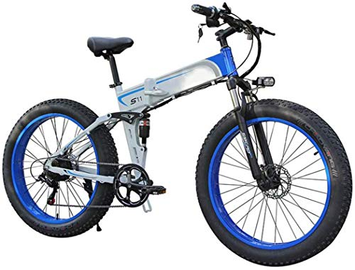 RDJM Bici electrica Plegable Bicicleta eléctrica for los Adultos, la luz 26' Frenos E-Bici Fat Tire Doble Disco LED, Professional 7 Velocidad de transmisión Engranajes de Bicicletas de montaña/conmu