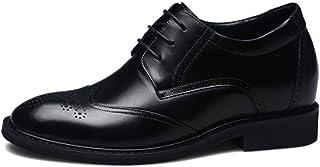 [HAPPYDAY] 小さいサイズ +7cmUP シークレットシューズ ビジネス 本革 メンズ 靴 インヒール ビジネスシューズ 外羽根 ウィングチップ 革靴 紐靴 黒 ブラック 結婚式 カジュアル 成人式 トールシューズ 22.5cm-26cm
