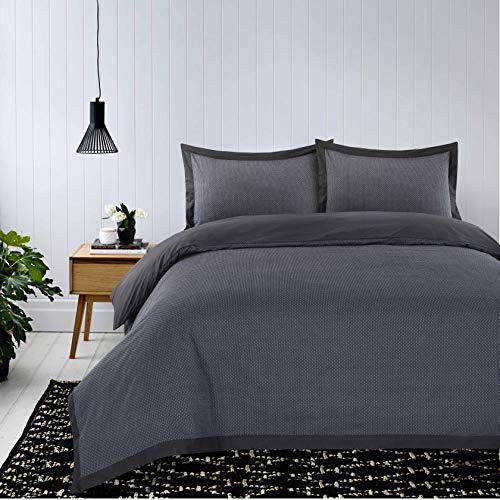 Nimsay Home Clyde Parure de lit de luxe Dobby tissé à pois, fil teint T150, 100 % coton (gris, King size)