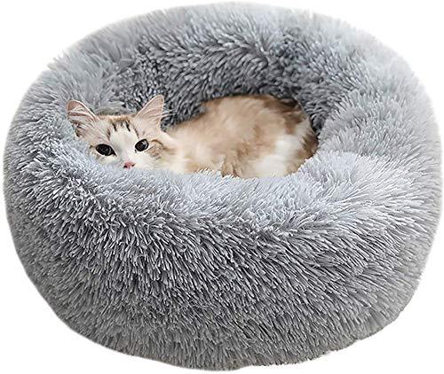 Haustierbett Katzenbett Luxus Shag Fur Donut Cuddler Runde Donut Hundebetten, flauschiges rundes Kätzchenbett, beruhigendes Bett für verbesserten Schlaf, rutschfest, maschinenwaschbar, grau,