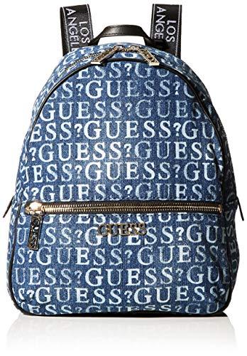 Guess Damen Ronnie Rucksack, Blau (Denim), 12x33,5x28 centimeters
