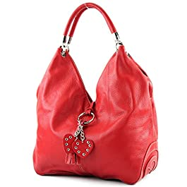 modamoda de – shopper sac à main en cuir italien sac à bandoulière 330, Couleur:rouge