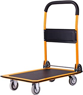 Office Household Trolley, Small Trailer Four-Wheeled Silent Trolley Folding Trolley Size 73 * 47CM, 90 * 60CM (Color : Orange, Size : 90 * 60CM)