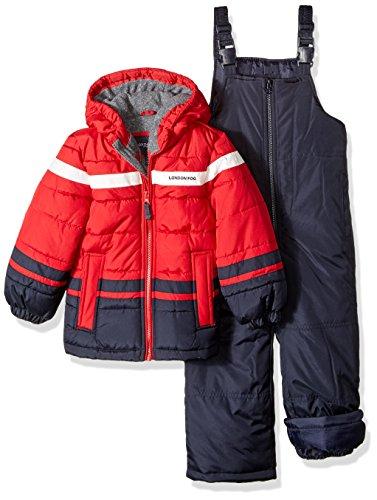 LONDON FOG Boys' Little 2-Piece Snow Pant & Jacket Snowsuit(Discontinued), red, 5/6