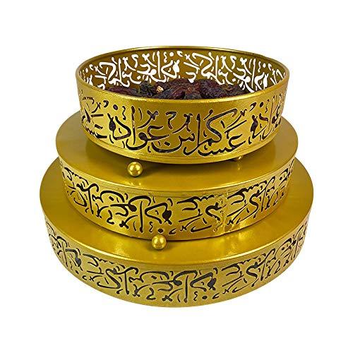 3 bandejas Eid Mubarak, bandeja de hierro Ramadan Kareem, postre, fruta, aperitivos, para Eid Musulmán, decoración de mesa