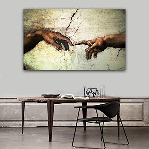 Creación de Adán La mano de dios imprime Religión pintura mural pintura famosa copia de frescos de la Capilla Sixtina de Miguel Ángel 60X80cm Sin marco
