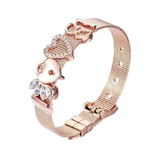 Heideman Armband Damen Mesh aus Edelstahl Silber oder Rosegold farbend poliert Armkette mit Charms Charmband für Frauen mit Swarovski Zirkonia Stein Weiss als Bracelet Crystal hb2812-8-1