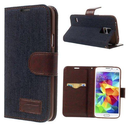 Samsung Galaxy S5 S5 Neo hoes klaphoes van NICA, slim flip case kunstleer veganistisch, telefoonetui beschermhoes bookcase, dunne voorkant achterkant telefoonhoes wallet bumper, jeans donkerblauw
