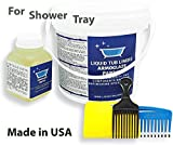 Armoglaze 2K Shower Base Refinishing Kit - for 2x2 or 3x3 - Odorless Pour-on Coating - 20x Times Thicker Than Standard Bathtub/Shower Refinishing Kit - No Peeling Off - White Color - Made in USA