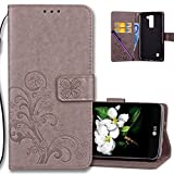 COTDINFORCA Case for LG K8 2016 Wallet Case Leather Premium PU Embossed Design Magnetic Closure Protective Cover with Card Slots for LG Phoenix 2/LG Escapte 3/LG K8 2016/LG K7 2016. Luck Clover Grey