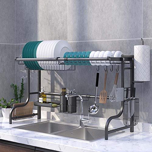 Scolapiatti sopra il lavandino, lunghezza regolabile da 60 cm a 96 cm, scolapiatti da cucina in acciaio inox, nero