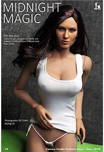 ZSMD 1/6 zwart en wit diepe uitsnijding vest dames super elastische stof actie pop kleding voor HT Verycool TTL Play Phicen a