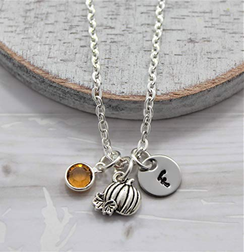 Pumpkin Necklace - Fall Themed Autumn Jewelry for Women - Personalized Birthstone & Initial