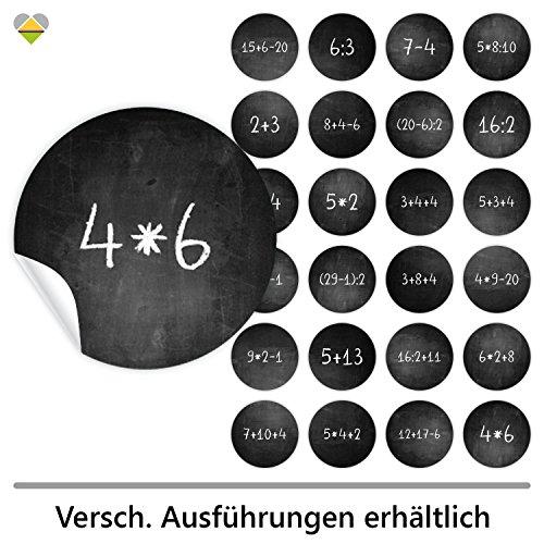 cute-head 24 Adventskalender-Zahlen (Aufkleber Etiketten Sticker) | Kreidetafel (simuliert) | Mathe/Rechenaufgaben | Rund | M » Ø 40 mm | Schwarz | F00078-02