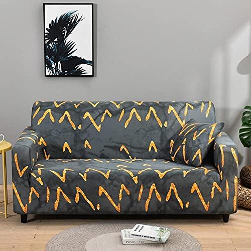 Funda Sofa 1 Plaza Gris Dorado Elegante Fundas para Sofa Universal,Cubre Sofa Ajustables,Fundas Sofa Elasticas,Funda de Sofa Chaise Longue,Protector Cubierta para Sofá
