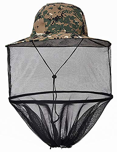 Mosquito Head Net Hat, Wide Brim Camo Sun Protection Hats with Face Neck Mask Cover Netting from Bucket Cap Outdoor for Men or Women Fishing Gardening Camping Hiking