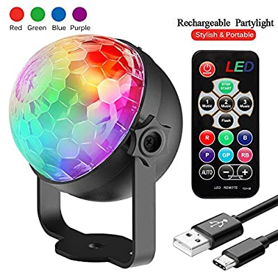 Disco Lights, Rechargeable Disco Ball Lights 4 Colours RGBP Party Lights Strobe Lights by InnooLight, Remote Control Music Activated DJ Lights Magic Rotating LED Stage Lights for Birthday Parties Pub