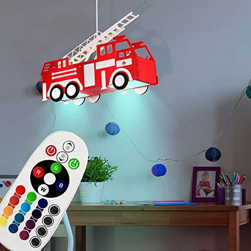 Kinder Lampe Feuerwehr dimmbar Hänge Leuchte Fernbedienung Set inklusive RGB LED Leuchtmittel