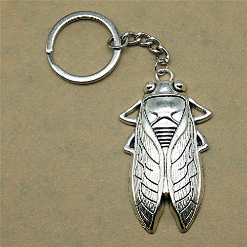 YCEOT Keychains for Men Cicada Fashion Jewelry Birthday Gift 62X33Mm Pendant Silver Plated