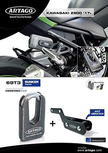 Artago 69T3 diefstalbeveiliging, hoogwaardige schijf en houder voor Kawasaki Z900, Sra, Sold Secure Gold, ART4, Metallic