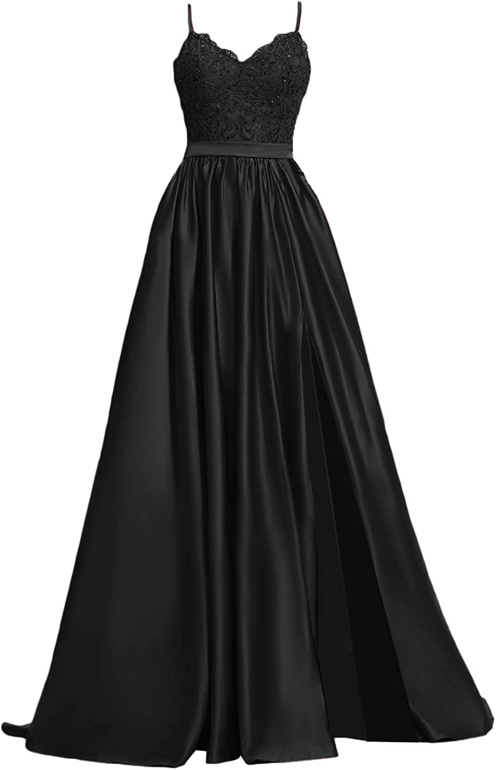 APXPF Women's Lace Prom Dresses Long Satin Slit Formal Evening Gowns with Pockets