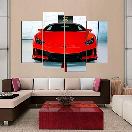 KOPASD Canvas Picture-4 Piece- Red Lamborghin Luxury Sports Car -120x80cm-4 Part Panels-Ready to Hang-wall art print-Completely framed-Image printed-art on canvas-Christmas Ornaments