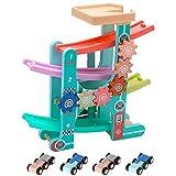 Baobë Circuito de Coches Madera y 4 Autos ,Juguetes de Pista de Madera Que Les Gustan a los Niños Pequeños/Bebé