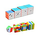 I-xun Speed Cube Set Stickerless Puzzle Cube Bundle (Pack of 2x2x2, 3x3x3, 4x4x4, 5x5x5)