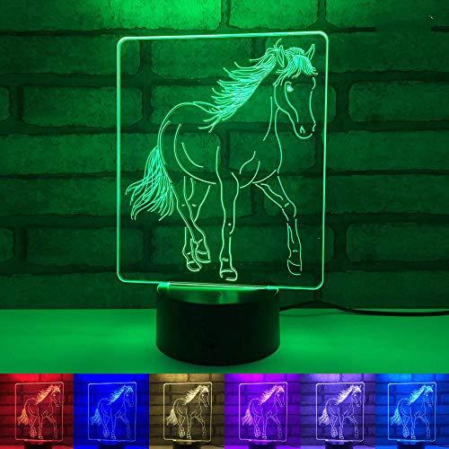 3D nachtlampje voor dieren, halucinatorisch licht, 7 decoratieve lampjes met wisselende kleuren, aanrakbaar en afstandsbediening, het beste cadeau voor woonkamer en slaapkamer