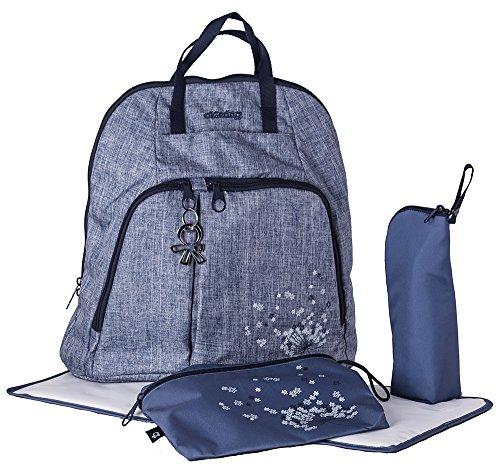 okiedog TREK 37013 eleganter Wickelrucksack mit gepolstertem Rücken, weichen Tragegurten, Kinderwagenhaken, Wickelunterlage, isol. Flaschenhalter und Zubehörbeutel, Urban jeans, ca. 37 x 39 x 15 cm