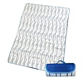 Large Picnic & Outdoor Blanket Dual Layers for Outdoor Water-Resistant Handy Mat Tote Spring Summer Blue and White Striped Great for The Beach,Camping on Grass Waterproof Sandproof (white)