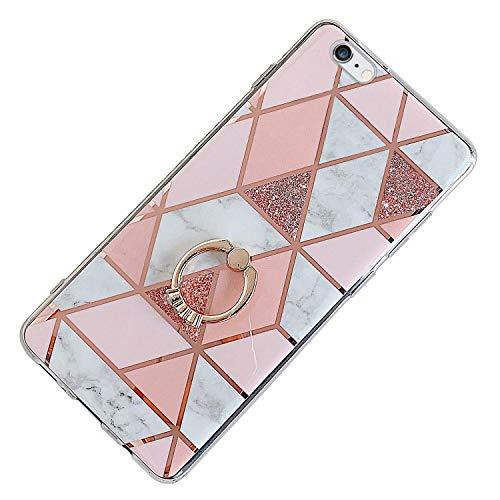Saceebe Compatible avec iPhone 6S 4.7 Coque Silicone Motif Géométrique Marbre TPU Housse Etui Souple Coque avec Téléphone Anneau Bague Support Paillette Brillant Strass,Rose