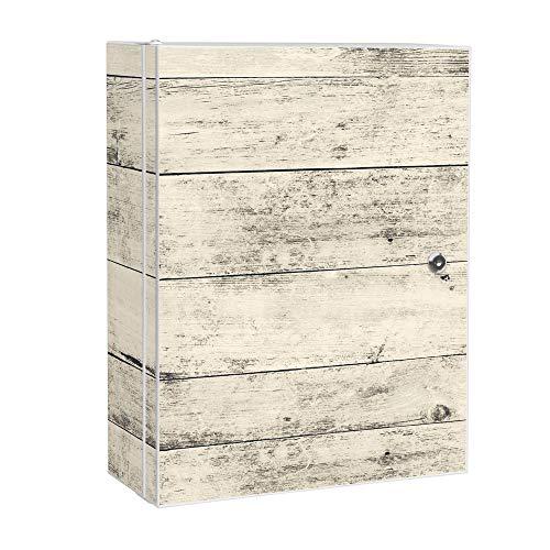 banjado XXL Medizinschrank abschliessbar | großer Arzneischrank 35x46x15cm | Medikamentenschrank aus Metall weiß | Motiv Weiße Planken H mit 2 Schlüsseln | Gestaltung auf Front und Seiten