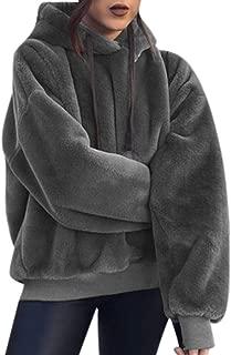 iHHAPY Ladies Fluffy Coat Plush Hoodie Winter Hoodie Solid Sweatshirt Warm Pullover Hooded Oversize Top Soft Comfortable