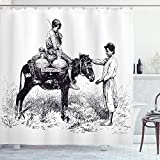 ABAKUHAUS Esel Duschvorhang, Wasserträger Vintage Sketch, mit 12 Ringe Set Wasserdicht Stielvoll Modern Farbfest & Schimmel Resistent, 175x220 cm, Weiß & Schwarz