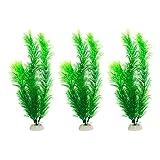 Quluxe Plantas acuáticas artificiales de 30,48 cm, pequeñas plantas de acuario artificiales para el hogar y la oficina, color verde (paquete de 3)