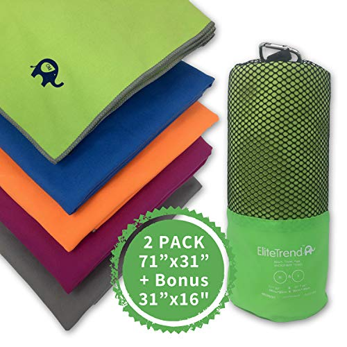 Elite Trend Microfiber Quick Dry Beach Towel:for Gym & Sports Green 2 Pack Total:(XL 71 x 31) and(Small 31x16)- Lightweight, Sand Free Towels for Camping, Sports – 2 Sizes