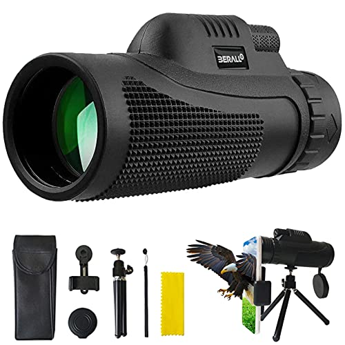 12x50 Monocular Telescope 3280ft High Power Monocular with Night Vision IPX7 Waterproof Monocular with Smartphone Holder and Tripod, BAK4 Prism for Wildlife Bird Watching Hunting Camping Travelling