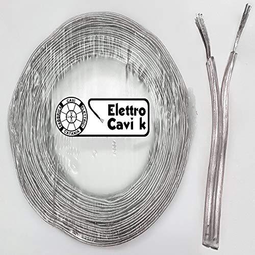 ® ELETTRO CAVI K - PIATTINA COSTA STRETTA BIPOLARE 2x0,50 mm² COLOR ARGENTO TRASPARENTE LAMPADARI BAJOUR 2 POLI PROFESSIONALE IN RAME 10 METRI