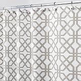 mDesign Duschvorhang mit Steingittermuster - perfektes Badzubehör mit idealen Maßen: 180 cm x 200 cm - langlebige Duschgardine - Farbe: grau