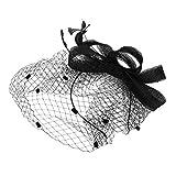 IBLUELOVER Peluquería Mujer Sombrero Boda Novia Fascinator Elegante Diadema Fascinator Nupcial Velo Malla Diadema para cóctel Boda Derby Gran ceremonia de gala Fiesta Fiesta Vestido de lujo (negro)