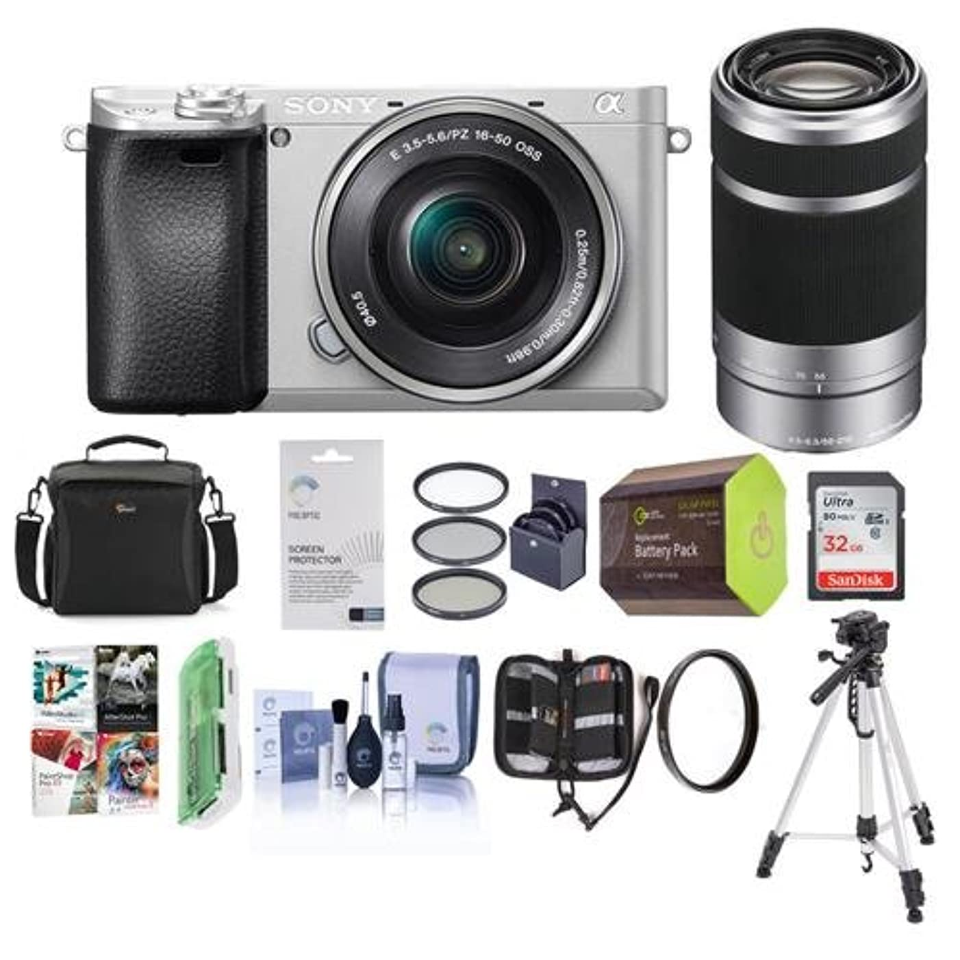 Sony Alpha a6300 Mirrorless Digital Camera Body Silver with 16-50mm E-Mount Lens and 55-210mm f/4.5-6.3 OSS - Bundle with 32GB Class 10SDHC Card, Camera Case, Spare Battery, Software Package and More