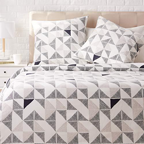Amazon Basics - Juego de ropa de cama con funda de edredón, de satén, 240 x 220 cm / 65 x 65 cm x 2, Multicolor (Diamond Fusion)