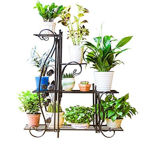 LIANGLIANG Fer Forgé Étagères pour Plantes Étagère De Jardin Plantes Échelle Sol Métal Balcon Salon Intérieur, Noir, 2 Tailles (Taille : 65 * 23.5 * 76.5cm)