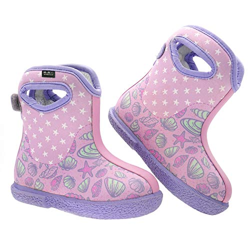 MCIKCC Baby Boots, Waterproof Rainning Boots Lightweight Adjustable Outdoor Boots Multicolor for The Infant, Toddler, Baby, Girls, Boys, 9M Pink