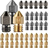 Mk8 Nozzles 3D Printer Extruder Nozzles Hardened Steel, Stainless Steel, Brass Nozzle High Temperature Pointed Wear Resistant Nozzle 0.4 mm 1.75 mm, Compatible with Makerbot, Ender 3 (36)